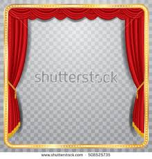 vector stage with red curtain, golden frame and transparent shadow, blank  background, layered