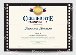 Film Picture Template Certificate Of Completion Template With Movie Film Border Stock