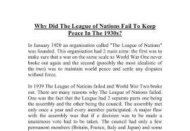 why did the league of nations fail to keep peace in the s a document image preview