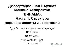 Презентация на тему В А Филимонов ДИссертационная НАучная Машина  1 В А Филимонов