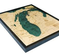 Lake Michigan Art Lake Michigan Map Lake Michigan Wood Chart Lake Michigan Water Depths Topograhic Map Great Lakes Map