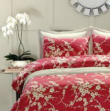 Japanese Oriental Style Cherry Red Blossom Floral branches Print Duvet  Quilt Cover 300tc Cotton Bedding 3