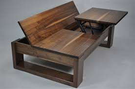 gt multi coffee table quarter sawn black walnut features 2 pop up t v tables and lift up storage area on photo to see open
