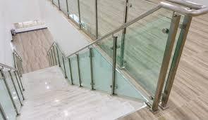 glass railing system with metal posts