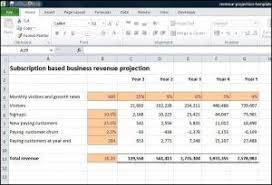 Profit Projections Template Subscription Based Business Revenue Projection Business