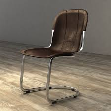 restoration hardware rizzo leather side chair 3d model