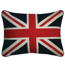 Modern Needlepoint Pillows | British Flag Needlepoint Throw Pillow |  Jonathan Adler