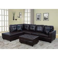 undefined brown faux leather left chaise sectional with storage ottoman