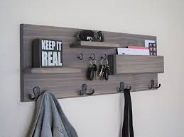 Entryway Organizer Coat Hooks Key Rack Shelves Mail and Backpack Storage