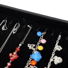 Decorative Display Cases Black Jewelry Bracelet Necklace Display Case With Golden