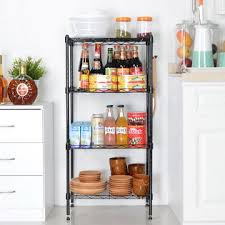 kitchen wire shelving. Homdox Wire Shelving Unit Kitchen 4-Shelf Storage Organizer Rack Adjustable Height With Side Hooks H