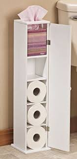 Toilet Paper Cabinet Storage White Wood Bathroom Tissue Stand ...