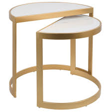 lumisource demi gold and white marble nesting tables set of 2