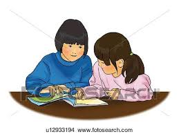drawing two s reading a book at table front view side view