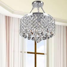 dangling crystal chrome drum shade semi flush mount chandelier ceiling light