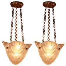 pair of french art deco chandeliers 1930s by degue