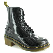 dr martens clemency womens patent leather ankle boots black