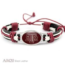 10pcs texas a m aggies collegiate sport team real leather bracelet adjule mens real leather bracelet for