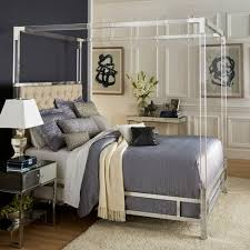 Queen Faye Acrylic and Chrome Canopy Bed with Tufted Headboard Oatmeal Brown - Inspire Q