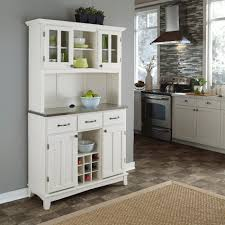 Kitchen Servers Furniture Home Styles Large Server 2 Door Hutch With Stainless Steel Top