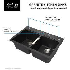 double bowl sink dual kraus  inch dual mount   double bowl granite kitchen sink w topmount