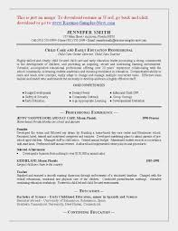 Child Care Resume Sample Fascinating Sample Child Care Resume Child Care Resume Sample Childcare Resume