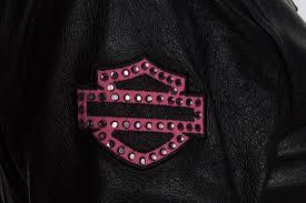 harley davidson 98022 12vw womens pink label embellished black leather jacket