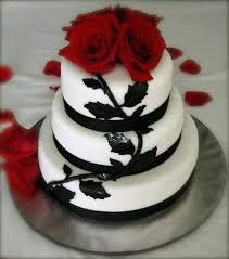 Black And White Red Rose Black And White Wedding Cake With Red Roses