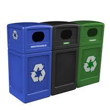 unit 1 blue mixed recyclables unit 2 black trash unit 3 green organic