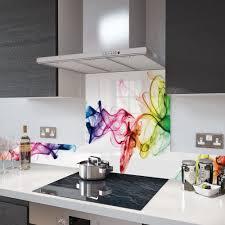 digital print glass upstand rainbow smoke on white 100cm x 14cm