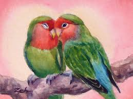 birds painting happiness forever lovebirds by janet zeh