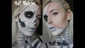 half woman half skeleton makeup series no 2