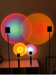 <b>Rainbow</b> art <b>sunset</b> projection <b>floor lamp</b> creative decoration ...