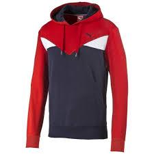 puma fun cb hooded tr herren sweatshirt rot puma red peacoat