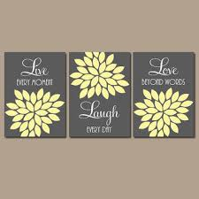 live laugh love wall art quote artwork charcoal gray yellow cust on grey and yellow bathroom wall art with shop gray and yellow artwork on wanelo