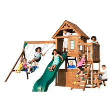 swing n slide tioga fort complete wooden playset