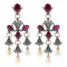 rubelite and cultured pearl chandelier earrings