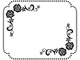 バラと小花の白黒点線フレーム飾り枠イラスト 無料イラスト かわいい