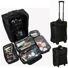 1 of 12 pro nylon rolling makeup train case salon cosmetic luge storage removable bag