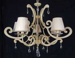 italian chandelier lamp 5 lights led iron laser cut lampshades crystal ivory art l37