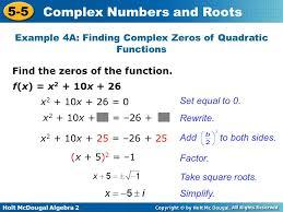 finding complex solutions of quadratic equations jennarocca