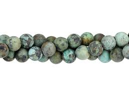 dakota stones matte african turquoise 8mm large hole round bead strand