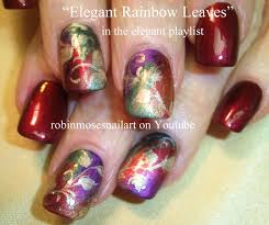 Red and Gold Autumn Leaves Nail Art   Elegant Nails Design ...