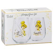 337239 disney tumbler glass set tinkerbell