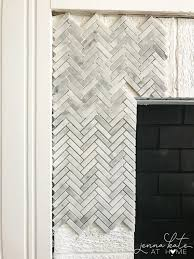 how to tile with marble on a fireplace