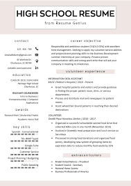 High School Student Resume Template Printable Worksheet Page For