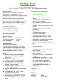 business admin resume trainee administrator cv sample