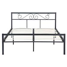 GreenForest Queen Bed Frame with Wooden Slats Support Metal Platform with Headboard No Box Spring Needed 82.87