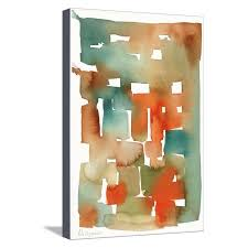 abstract watercolor pattern in orange and teal stretched canvas print wall art on abstract watercolor wall art with abstract watercolor pattern in orange and teal stretched canvas