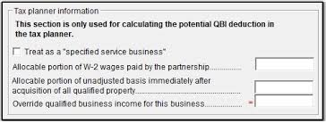 1040 Tax Planner Qualified Business Income Deduction